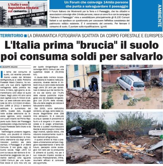 L'italia prima brucia il suolo poi consuma soldi per salvarlo